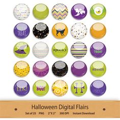 Halloween Digital Flairs Button Clipart Stickers by GoneDigital