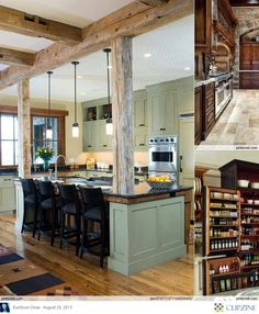 Kitchen Decorating Ideas, cool and rustic. Mountain house, maybe?