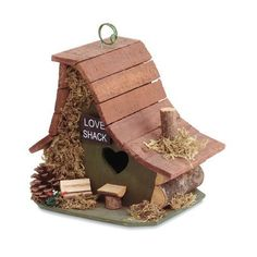 Details About Hanging Wooden Birdhouse Forest Design Free Standing Wood Bird…