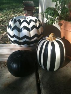 Chevron and Striped Fake Pumpkins