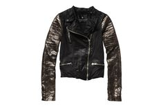 Leather biker jacket with copper foil sleeves  Scotch & Soda