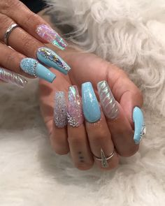 Nails Discover The Huntington Library, Art Collections, and Botanical Gardens The Huntington Library J Nails, Dope Nails, Bling Nails, Teen Nails, Halloween Acrylic Nails, Blue Acrylic Nails, Metallic Nails, Cute Nail Designs, Acrylic Nail Designs