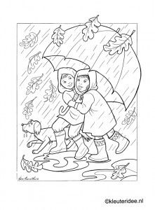Kleurplaat herfst, regen, paraplu, kleuteridee.nl , autumn, rain, umbrella preschool coloring.
