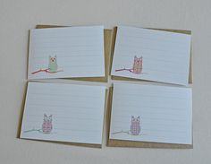 Set of 8 flat, owl, lined, note cards. Wise Mini Writers for your little owlies.. $12.00, via Etsy.