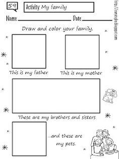 Ficha para reforzar el aprendizaje de los miembros de la familia. Ficha muy básica y sencilla.