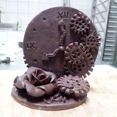 Broken clock work chocolate showpiece