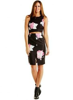 Floral Printed Front Cut Out Dress www.UsTrendy.com #black #floral #printed #chic #cutout #party #love