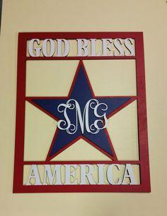God Bless America in rectangular frame, Door hanger, Wall Hanging, Seasonal, patriotic, 4th of July