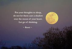 Put your thoughts to sleep,  do not let them cast a shadow  over the moon of your heart.  Let go of thinking.  -Rumi