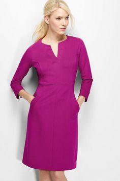Women's 3/4 Sleeve Ponté Sheath Dress