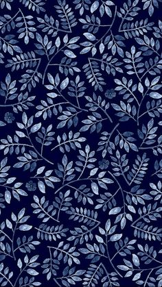 Pattern Play Foliage, by Mahani Del Borrello, for Picturette. Phone Backgrounds, Wallpaper Backgrounds, Wallpaper Art, Dark Blue Wallpaper, Leaves Wallpaper, Blue Backgrounds, Textures Patterns, Print Patterns, Color Patterns