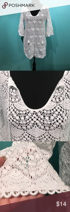 White bathing suit cover up Mudpie bathing suit cover with tassel ties. Worn once. No stains or tears. Mudpie Swim Coverups