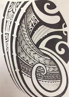 Croquis pour Tattoo de Modèle Polynésien Maori rempli avec des symboles et motifs