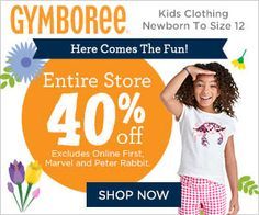 Gymboree celebrates childhood and creates quality clothes and accessories that are the fabric of childhood. We inspire moms with our cute, colorful,coordinated collections. In Gymboree, kids shine bright and families look great together—for family moments, for special occasions, and for the special occasion that is every day of childhood. 40% Off Entire Purchase at Gymboree