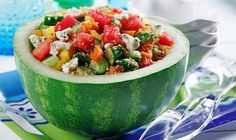 CanolaInfo | Couscous, Watermelon and Gorgonzola Salad |A flavorful watermelon salad with the sharp tang of Gorgonzola cheese will make any luncheon a success. Canola oil's light taste and texture is ideal for a vinaigrette and works well with the dish's lively flavors.