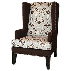 Nicholas Wing Chair, Blue