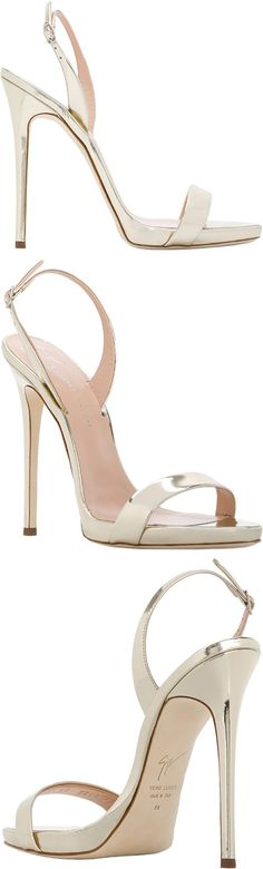 GIUSEPPE ZANOTTI DESIGN  Sophie sandals  The celebrity inspired footwear of Giuseppe Zanotti design are legendary and red carpet ready. Crafted in San Mauro Pascoli, the lasts are imbibed with exquisite Italian cordwaining techniques. These gold leather Sophie sandals featuring a slingback ankle strap, a brand embossed insole, a high stiletto heel and a leather sole.  #sandals #gold #afflink #shoes #heels #giuseppezanotti