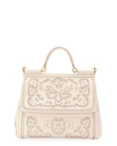 Dolce & Gabbana - Miss Sicily Leather Lace Satchel Bag, White  // OOOH MY GOD!!! this is beautiful <3