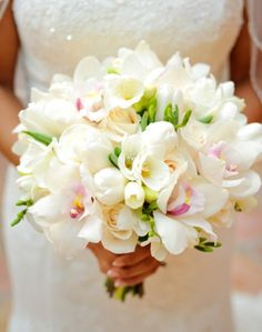 white bridal bouquet - smaller though, they are all too big and overpower the dress. Wedding Bouquets, Wedding Flowers, Flower Boutique, Dear Future Husband, Our Wedding, Wedding Stuff, Flower Centerpieces, Wedding Pictures, Flower Power
