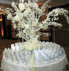 winter wonderland theme - I think this table is serving a duel task / place card & favors