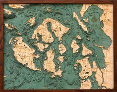 Mapas náuticos de madeira