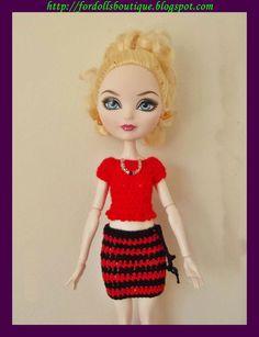 Top y falda para muñecas Monster & Ever After de mamimonster por DaWanda.com