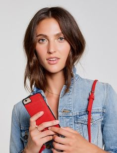 Red leather iPhone Case with Strap | Bandolier. Limited edition!