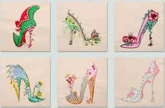 Delicate and Colorful these are Sally King's 2014 Calendar Shoe's Part 2 from BFC-Creations Machine Embroidery Designs. 6 Designs, Names of the Shoes and 12 Month Names are Included, and don't forget the #FREE Sample on the bottom of the page.