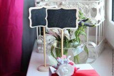 Купить Подставка с грифельной доской на ножке - черный, декор свадьбы, декор стола свадьба