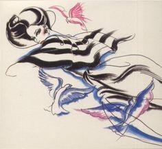 Marisa Berenson in Valentino, 1970s.  Illustration: Antonio Lopez.
