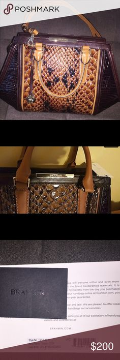 Beautiful Multi Textured Brahmin handbag 👜 Authenticity Brahmin Registration Card** Brahmin Carlisle Collection Arden Satchel Tobacco Brahmin's Crème Carlisle Collection is a luxurious combination of textures and patterns. This absolutely stunning Arden satchel features, brown and black smooth leather trim and exotic glossy snake-embossed center front and back panels. Lightly worn, includes dust bag and registration card. Brahmin Bags Satchels