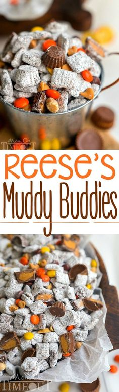 Reese's Muddy Buddies are taken to the next level in this amazingly delicious and easy dessert recipe! Reese's all the things! Reese's Pieces, Reese's Peanut Butter Chips, Reese's Minis, and Reese's Miniatures are all perfectly happy sharing space in this powdered sugar coated wonder land known as Muddy Buddies.   MomOnTimeout.com