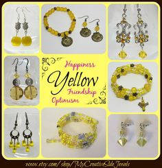 Yellow symbolizes optimism, friendship and happiness.  Shop my jewelry shop for necklaces, bracelets, earrings, keychains and more.  SHOP: www.etsy.com/shop/MyCreativeSideJewels