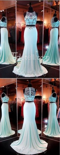 blue prom dress, 2016 long mermaid prom dresses, two-pieces prom dresses
