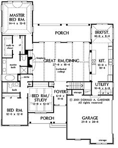 Floor Plans AFLFPW20077 - 1 Story French Country Home with 3 Bedrooms, 2 Bathrooms and 1,983 total Square Feet