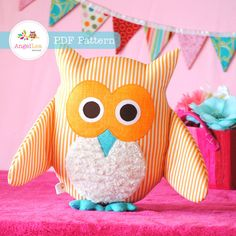 Owl Softie Pattern. PDF Sewing Pattern for Owl Softie, Cushion, Pillow, Plushie…