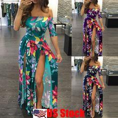 d6e5fffa7d Cool Plus Size Women s Floral Long Maxi Dress Split Cocktail Party Beach  Sundress USA 2018 Fashion