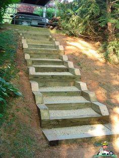 How to landscape a sloped yard on a budget Landscape Stairs, Landscape Timbers, Landscape Design, Garden Design, Landscaping A Slope, Landscaping Retaining Walls, Landscaping Ideas, Sloped Yard, Sloped Backyard