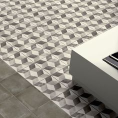 Our Vintage Cube tiles are made in Italy and come in shades of contemporary grey. We love their geometric design. Garden Tiles, Patchwork Tiles, Modern Bathroom Tile, Small Bathroom, Cube Pattern, Small Tiles, Vintage Tile, Dining Nook, Moroccan Tiles