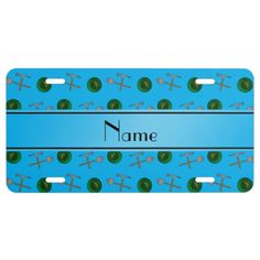 Personalized name sky blue gold mining license plate