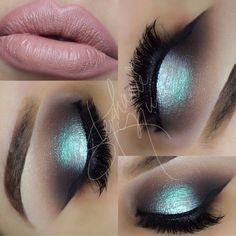 Teal makeup look