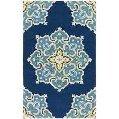 Craft a boho-chic sunroom or patio ensemble with this lovely hand-hooked rug, showcasing a raised scrolling motif in blue, green and cream. Let it simply complement a neutral-hued sofa and chaise, then give your space eye-catching appeal with a collection of patterned pillows, woven throws, and lush potted plants.