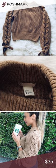 H&M Cable Knit Sweater Size 6 Camel SMALL S zara H&M Cable Rope Sweater | Brand new without tags | size small size 6 | Spotted on Annjie Jaffrey | Color: Camel H&M Tops Sweatshirts & Hoodies
