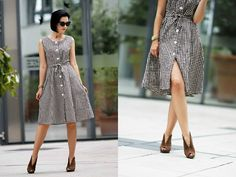 Aleksandra L. - Vintage Plaid Dress, Topshop Sunglasses - LESS IS MORE