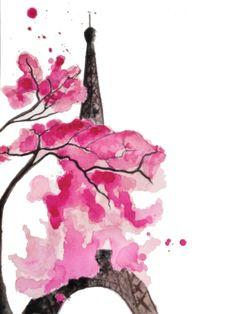 Impression de l'aquarelle originale 'La Tour Eiffel en fleurs' de la boutique…