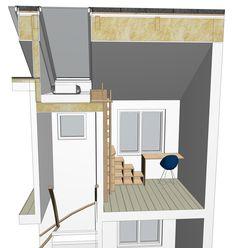 Skisse romløsning  Tidlig skisseutkast av løsning med seng på hems og sambatrapp opp
