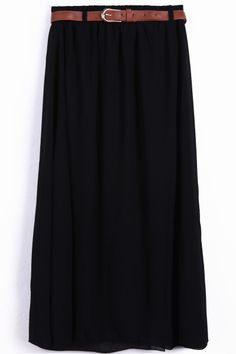 Black Belt Waist Chiffon Long Skirt - Sheinside.com #SheInside