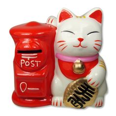 * Maneki Neko Fortune Cat Lucky Cat Piggy Bank Post