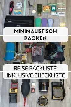 Minimalist travel packing list & checklist- Do you want to travel in a minimalistic way, but not restrict yourself? Here you can find my travel packing list, which does not make your luggage too heavy. Packing List For Travel, Packing Tips, Travel Bags, Luggage Packing, Travel Advice, Travel Guide, Travel Ideas, Europa Tour, Camping Checklist