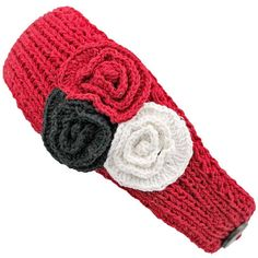 Red Crochet Headband With Three Knit Flowers ($14) ❤ liked on Polyvore featuring accessories, hair accessories, red, flower headband, flower hair accessories, crochet flower headwrap, red flower hair accessories and crochet headwrap